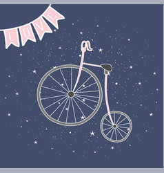 Retro bicycle with large front wheel painted in vector