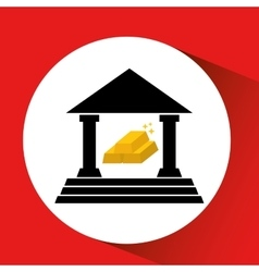 Silhouette bank building golden bars icon orange vector
