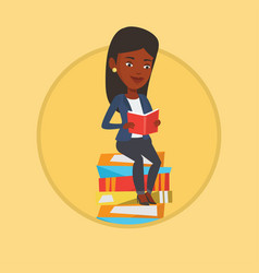 Student sitting on huge pile of books vector