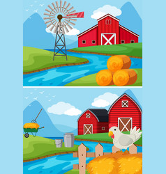 Two scenes of farm along the river vector