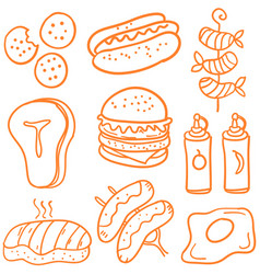 Various food of doodle set vector