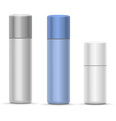 White and silver Bottles of aerosol spray metal vector image