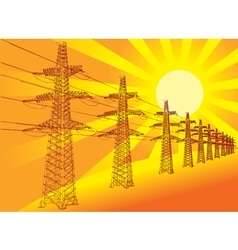 Power transmission line against the setting sun vector