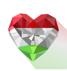 Crystal gem jewelry heart with the flag of the vector