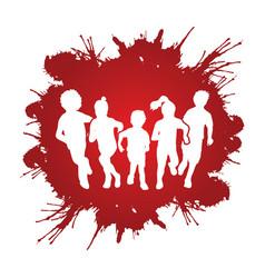 Group of children running graphic vector