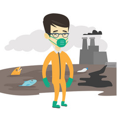 Man in radiation protective suit vector
