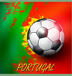 soccer ball on portuguese flag background vector image