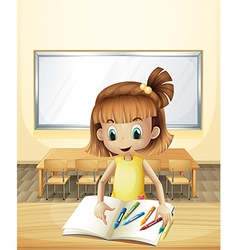 A girl inside the classroom with her books and vector image