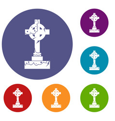 Irish celtic cross icons set vector