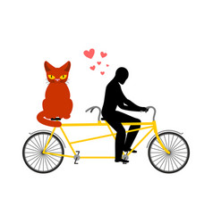 Cat lover on tandem my kitty lovers of cycling vector