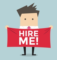 Businessman holding a banner for hiring vector