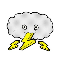 Comic cartoon thundercloud vector