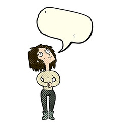 Cartoon woman looking upwards with speech bubble vector
