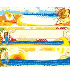 Summer banners set girl vector