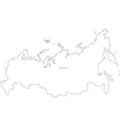 Black White Russia Outline Map vector image