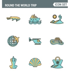 Icons line set premium quality of round the world vector