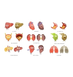 Healthy vs sick human organs infographic vector