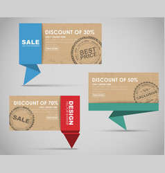 Banners for big sale origami style vector image vector image