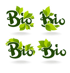 Bio labels with lettering composition and green vector