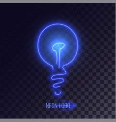 Blue neon lightbulb logo vector
