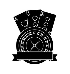casino roulette wheel banner with game cards vector image