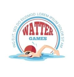 emblem of cartoon Swimming man vector image vector image