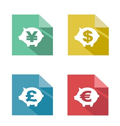 Flat piggy bank currency exchange vector