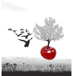 Flying flowering cherry tree of cherries vector