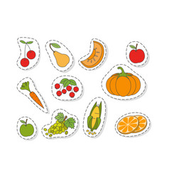 Fruits and vegetables flat stickers set vector