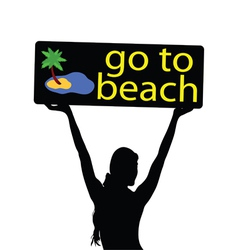 Go to beach with girl silhouette vector
