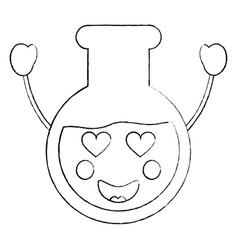 Laboratory flask glass kawaii cartoon vector