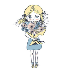 Little freckles girl with big bouquet of flowers vector