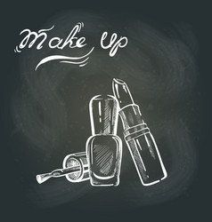 makeup on the blackboard vector image vector image