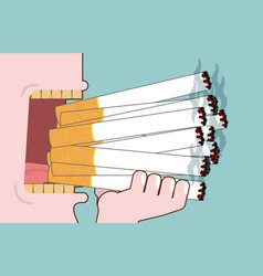 Man smokes lot cigarettes many of nicotine open vector