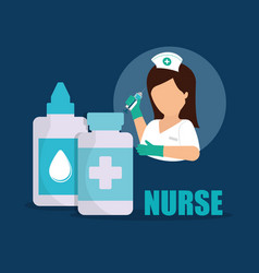 Nurse medical eye drop medicine bottle vector
