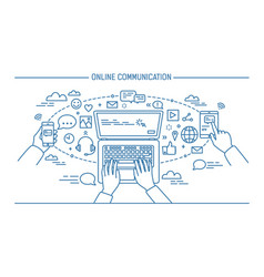 Online communication lineart banner gadgets vector