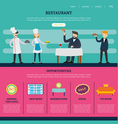 restaurant page for website template vector image vector image
