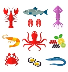 Seafood flat icons set vector image vector image