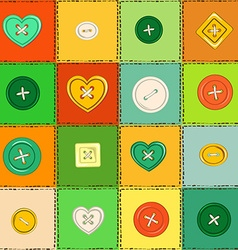 Seamless pattern of patchworks and sewing buttons vector
