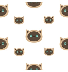 Siamese cat seamless pattern flat design style vector