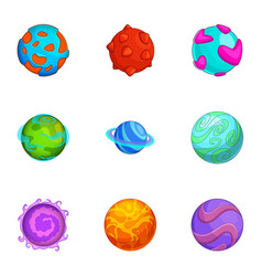 various comic planets icons set cartoon style vector image