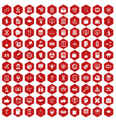 100 analytics icons hexagon red vector