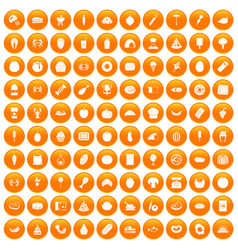 100 favorite food icons set orange vector image vector image