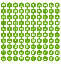 100 office icons hexagon green vector