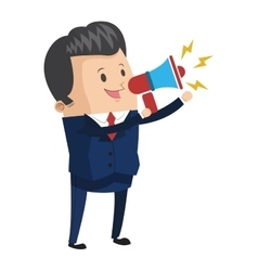 businessman holding megaphone icon vector image