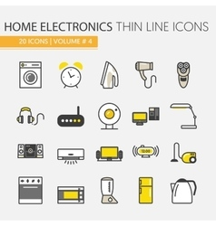 Home electronics appliances thin line icons set vector