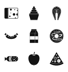 Brunch icons set simple style vector