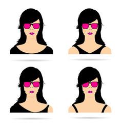 Woman head with sunglasses set sensual vector