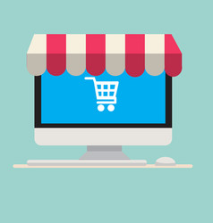 Computer with awning and cart icon vector