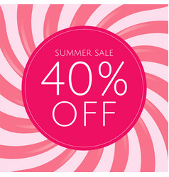 Sale poster with pink sunburst vector